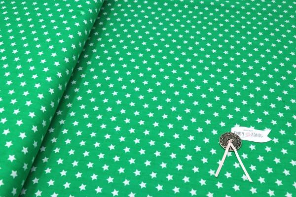 Baumwollstoff grün mit weißen Sternen