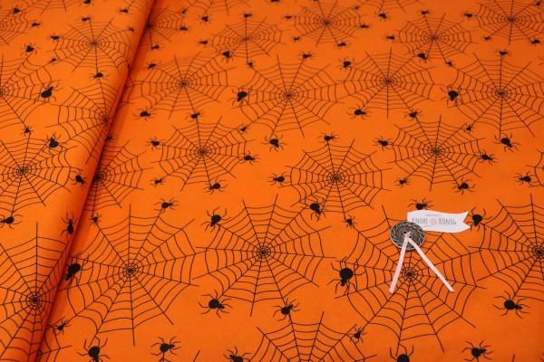Baumwollstoff orange Spinnennetz
