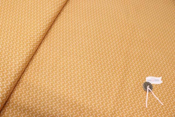 Senfgelber Baumwollstoff mit weißem Muster