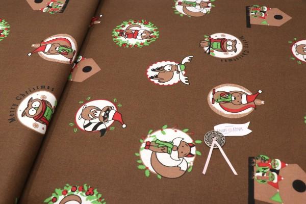 Canvas, Weihnachtstiere braun