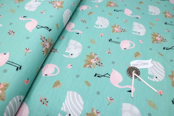 Türkiser Baumwoll-Jersey, Elefanten und Flamingos