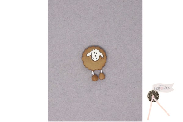 Kinderknopf Schaf, 18mm braun