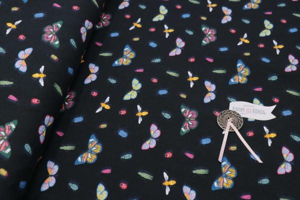 Baumwoll-Jersey schwarz, Schmetterlinge