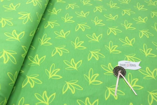Baumwoll-Jersey Blätter grün