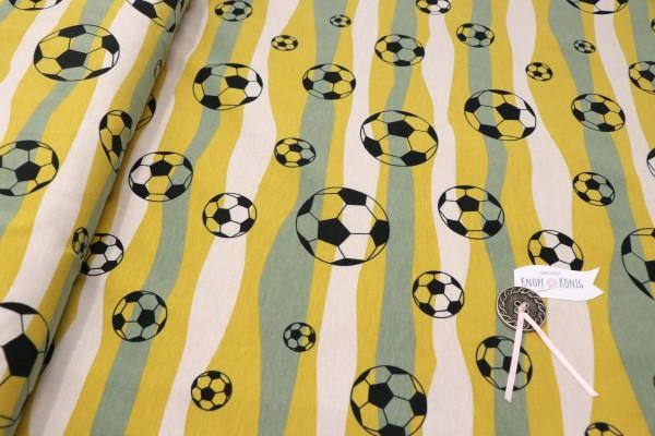 Baumwoll-Jersey Fußball grün-gelb