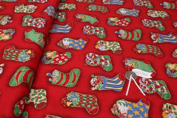 Weihnachtsstoff rot, Stiefelchen klein gemustert