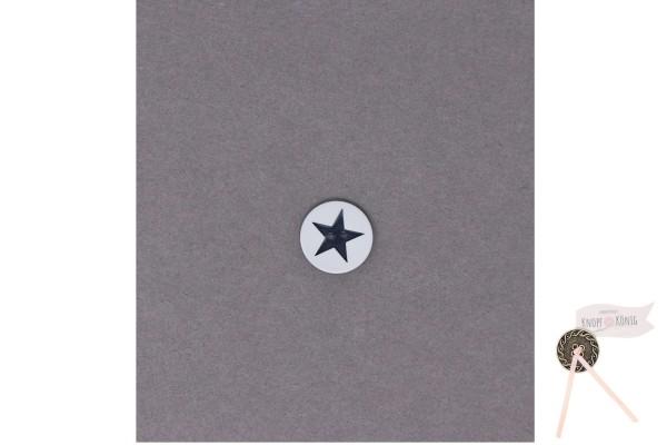 Kinderknopf Stern, 15mm weiß-dunkelblau