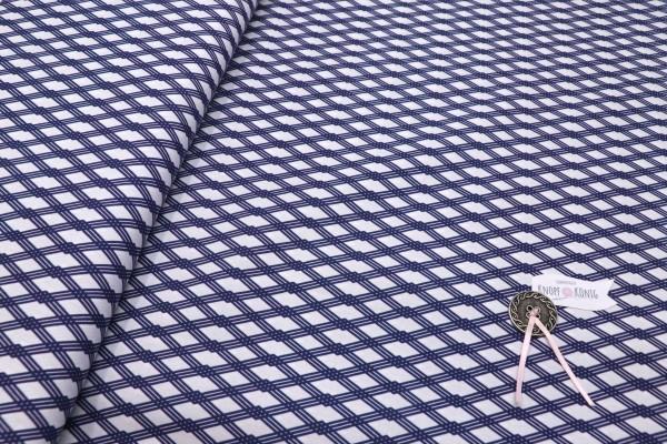 Baumwollstoff Rautenmuster blau