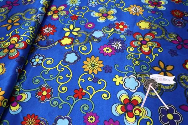 Faschingsstoff, blau mit Blumenranken