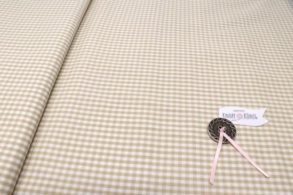 Karierter Baumwollstoff weiß-beige, 3mm