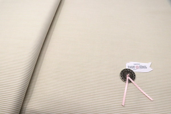 Baumwollstoff Streifen beige-weiß