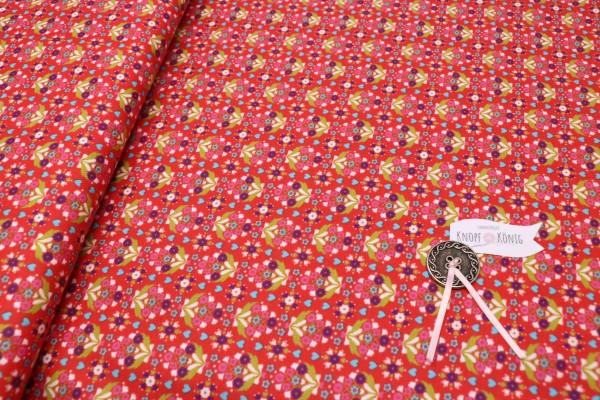 Baumwollstoff rot mit Blumenstrauß