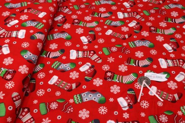 Weihnachtsstoff Stiefelchen rot