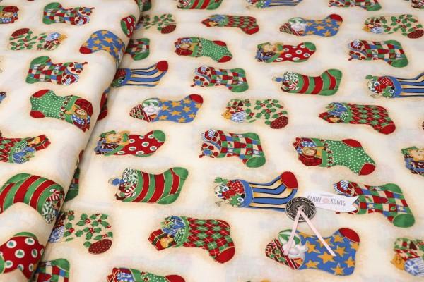 Weihnachtsstoff natur, Stiefelchen klein gemustert