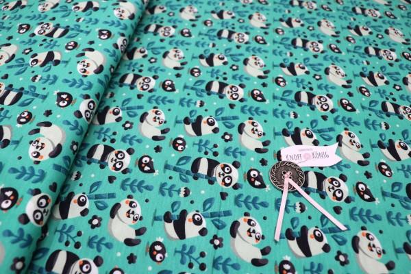Mintfarbener Jerseystoff, Pandabär