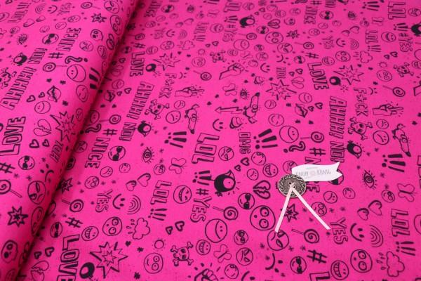 Jerseystoff pink mit Smileys