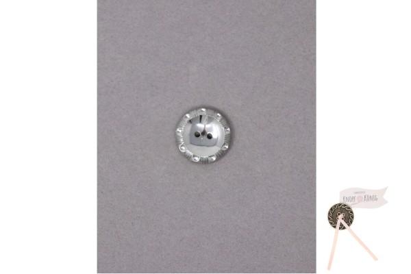 Knopf silber mit geprägtem Rand, 18mm