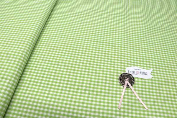 Karierter Baumwollstoff weiß-grün, 3mm
