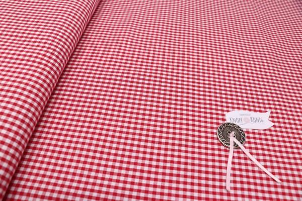 Karierter Baumwollstoff weiß-rot, 3mm