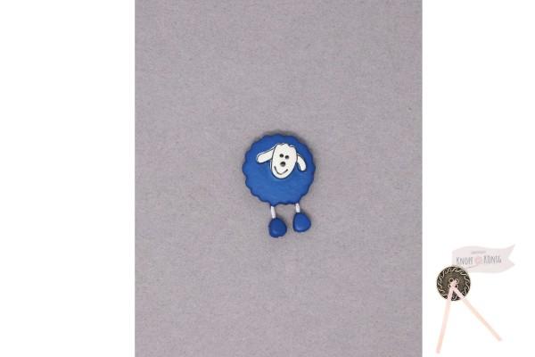 Kinderknopf Schaf, 18mm blitzblau