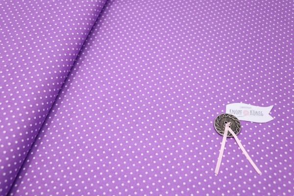 Baumwollstoff lila mit weißen Punkten
