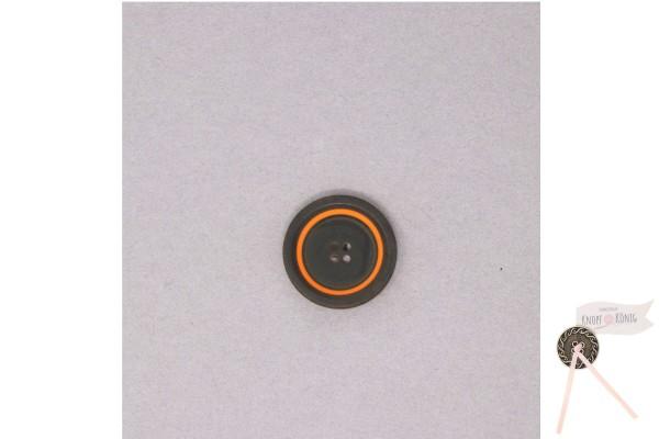 Damenknopf schwarz mit orangem Kreis