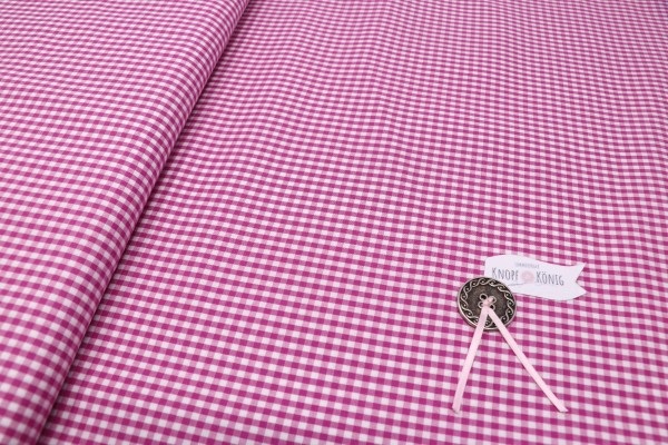 Karierter Baumwollstoff weiß-pink, 3mm