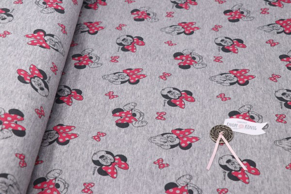 French Terry Minnie Mouse grau
