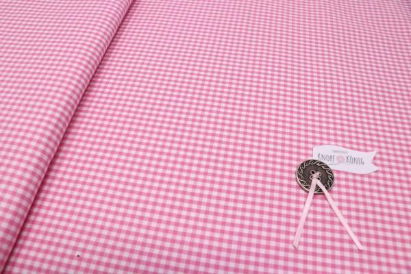 Karierter Baumwollstoff weiß-rosa, 3mm