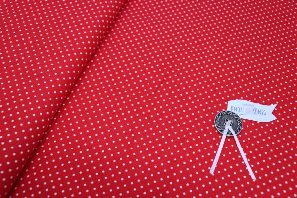 Baumwollstoff rot mit weißen Punkten