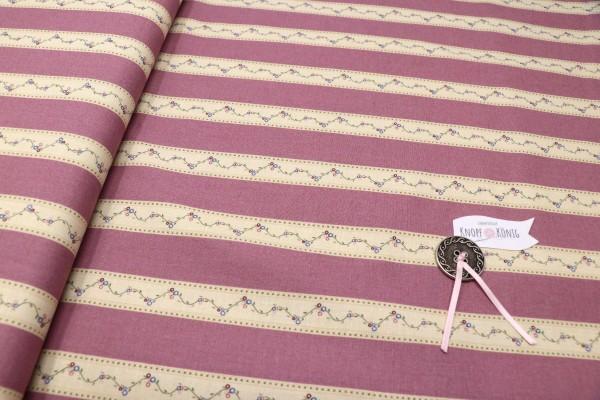 Baumwolldruck Streifenoptik altrosa