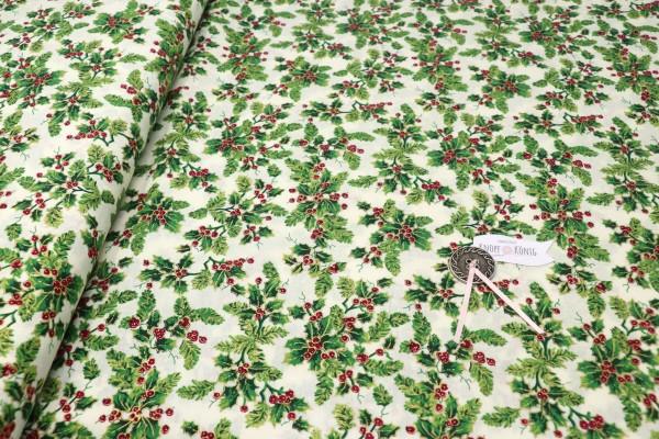 Weihnachtsstoff natur, Ilex klein gemustert