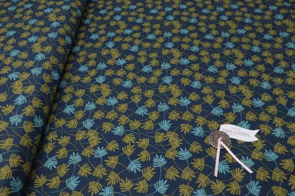 Baumwollstoff dunkelblau mit Blättern