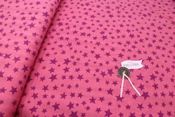 Baumwoll-Jersey rosa mit Sternen