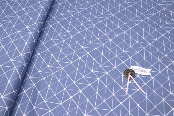 Baumwollstoff rauchblau, abstraktes Stichmuster