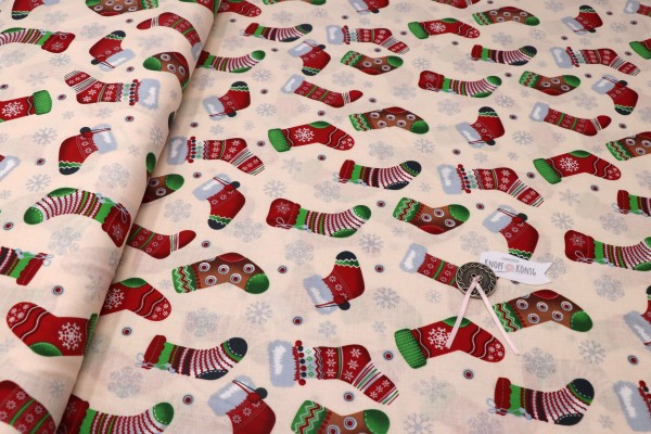 Weihnachtsstoff Stiefelchen natur