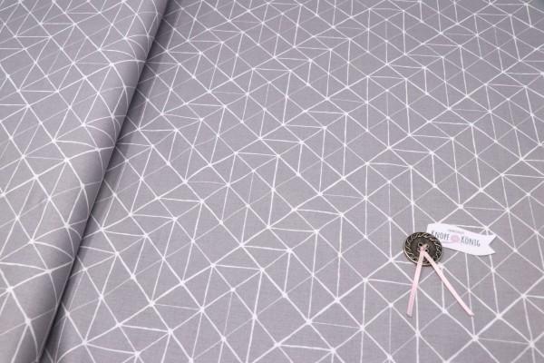 Baumwollstoff grau, abstraktes Strichmuster