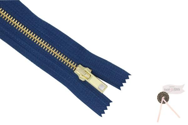 Jeanszipp dunkelblau, Metallschiene gold 6mm