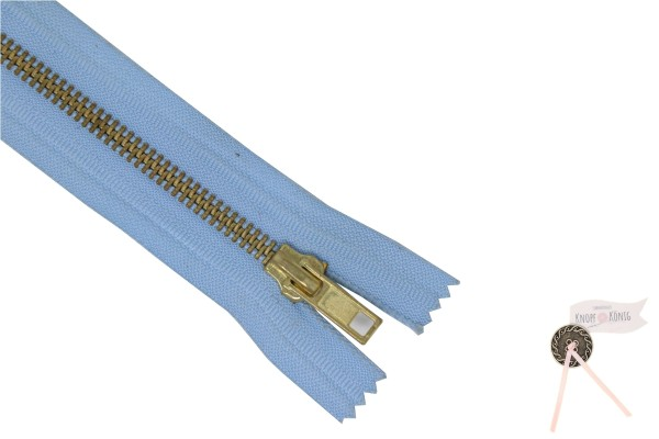 Jeanszipp hellblau, Metallschiene gold 6mm