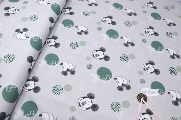 Jerseystoff hellgrau mit Mickey Mouse Motiv