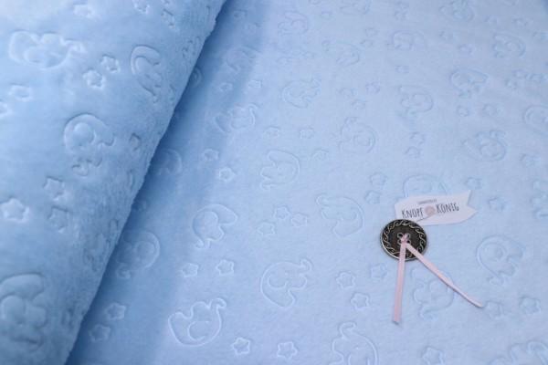 Hellblauer Teddy-Plüsch mit Elefanten