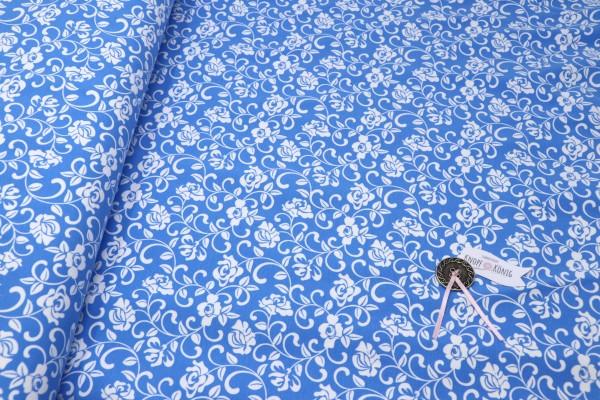 Baumwoll-Jersey hellblau mit Rosenranken