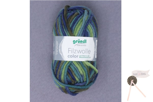 Filzwolle color, grün-marine multicolor