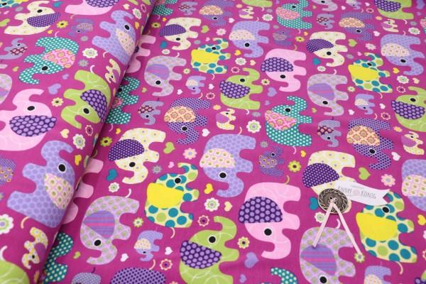 Baumwoll-Jersey pink mit Elefanten