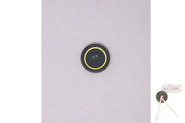 Damenknopf schwarz mit gelbem Kreis