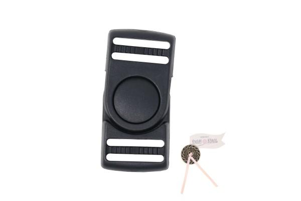 Steckschnalle schwarz, 25mm drehbar