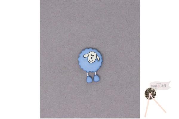Kinderknopf Schaf, 18mm hellblau