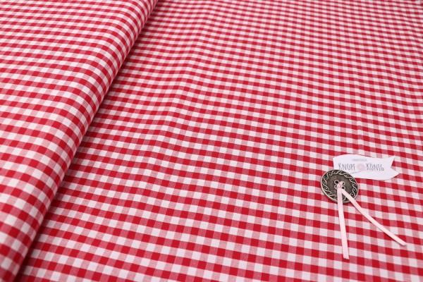 Karierter Baumwollstoff weiß-rot, 5mm