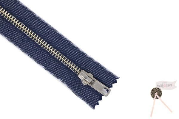 Jeanszipp blau-meliert, Metallschiene silber 6mm