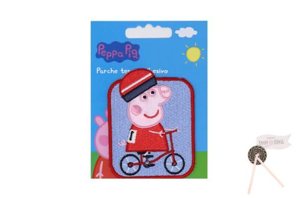 Applikation Peppa Pig mit Fahrrad, 6x7cm